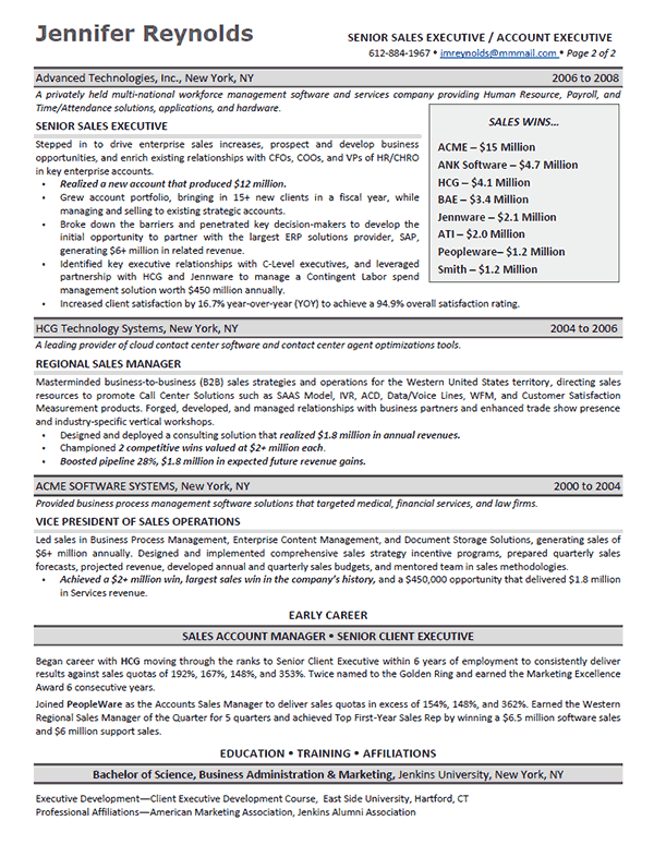 enterprise sales executive resume sample