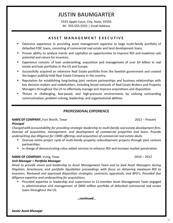 resume asset management executive asset management resume example