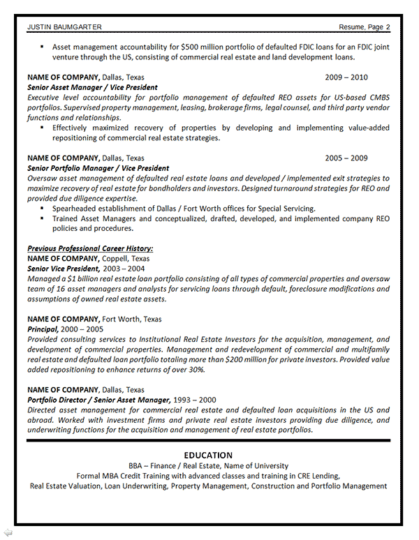 asset management resume example