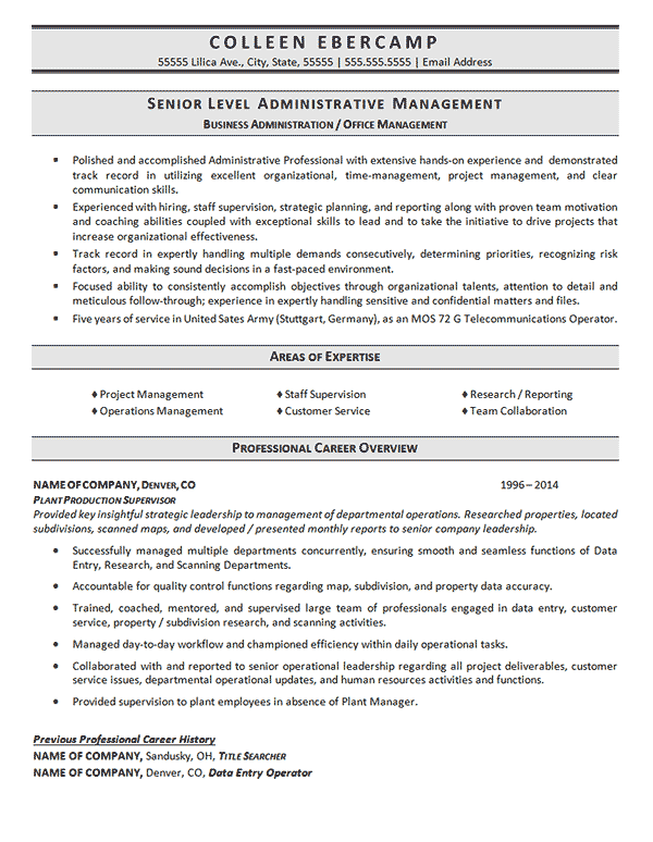 Sample Resume Business Administration | Business Administration Resume Example