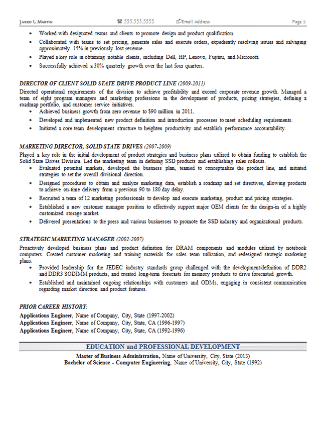 Marketing Operations Resume Sample