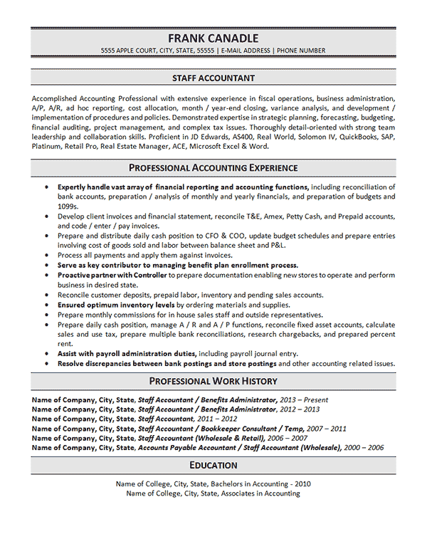 staff accountant resume example