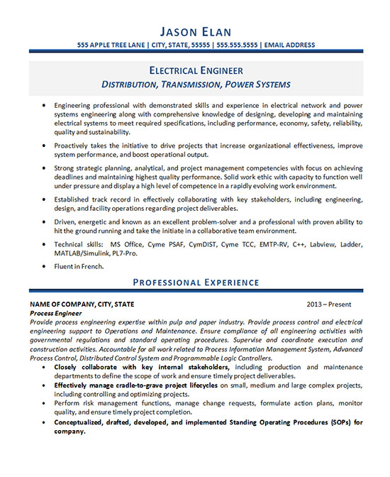resume example electrical engineer