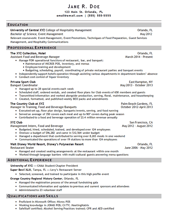 hotel manager resume example