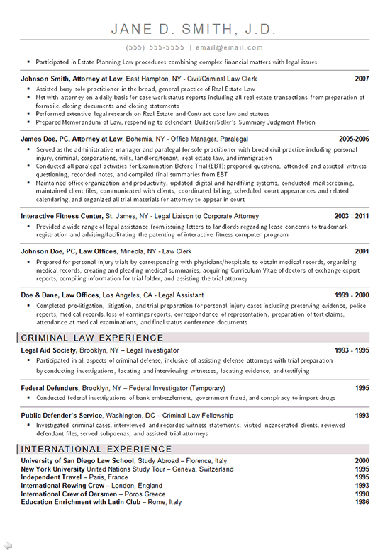 Freelance Property Lawyer Resume Sample