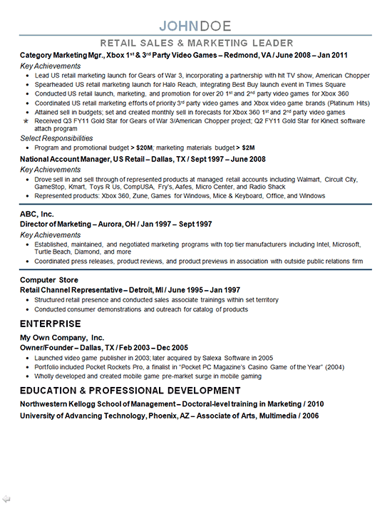marketing director resume sample