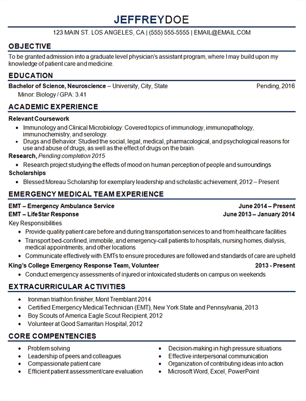 resume of a medical student