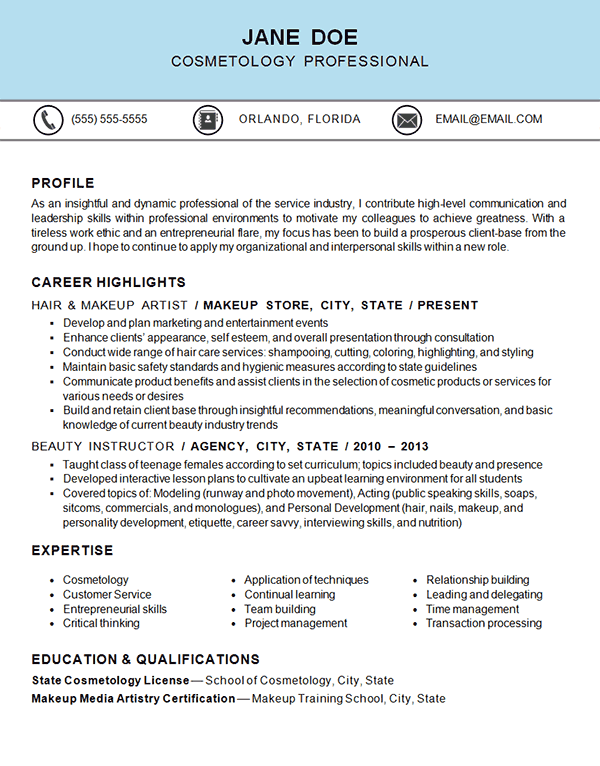 cosmetology resume example