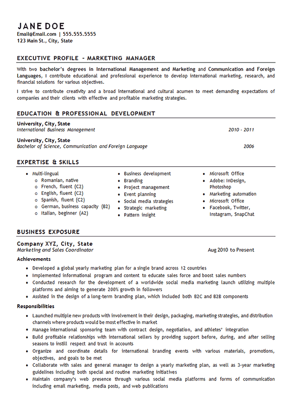 Marketing Manager Resume Example - International Management