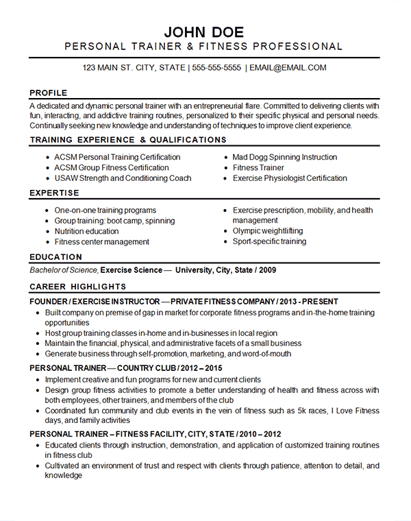 sports fitness resume example exercise instructor trainer