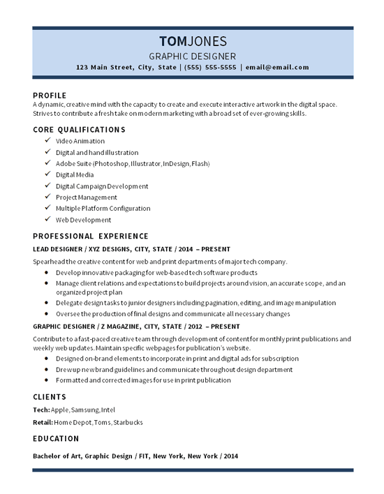 lead graphic designer resume example