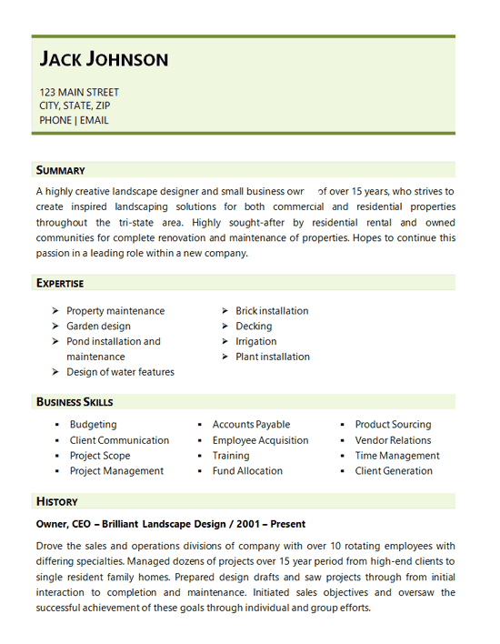 Landscaping Resume Example - Landscape Design Business
