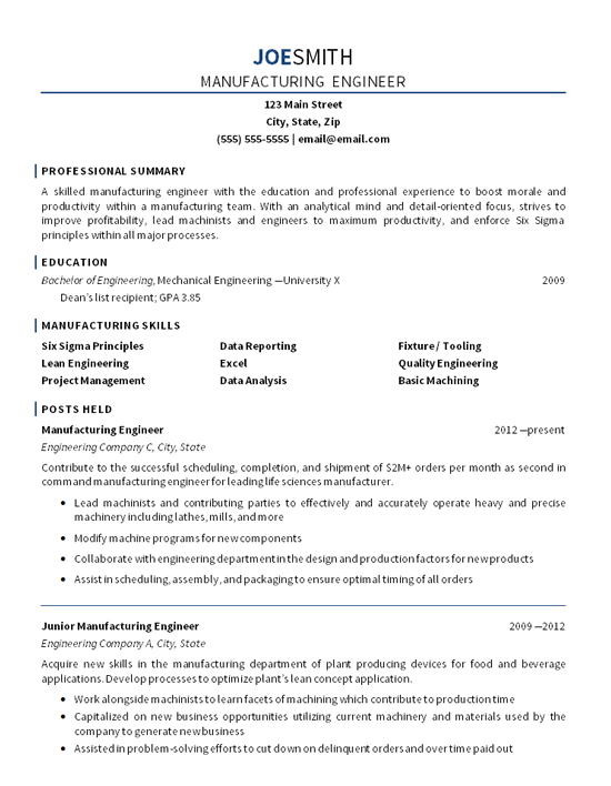 manufacturing engineer resume example mechanical engineering