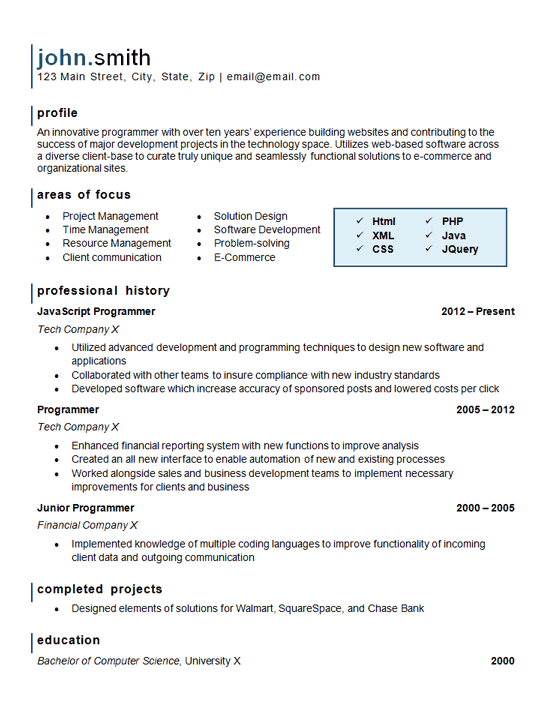 Computer Programming Resume Example