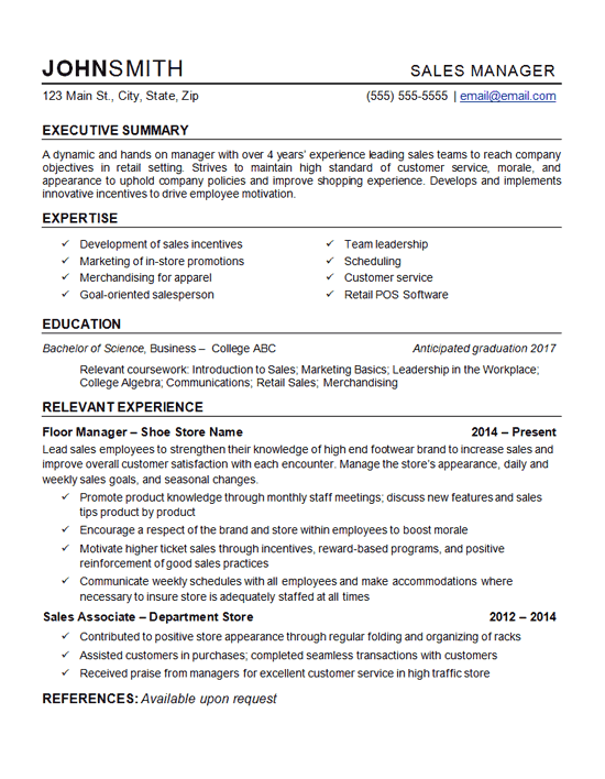 Example Resume In Sales