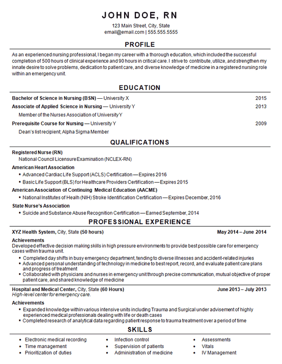 Registered Nurse Resume Example - Entry Level