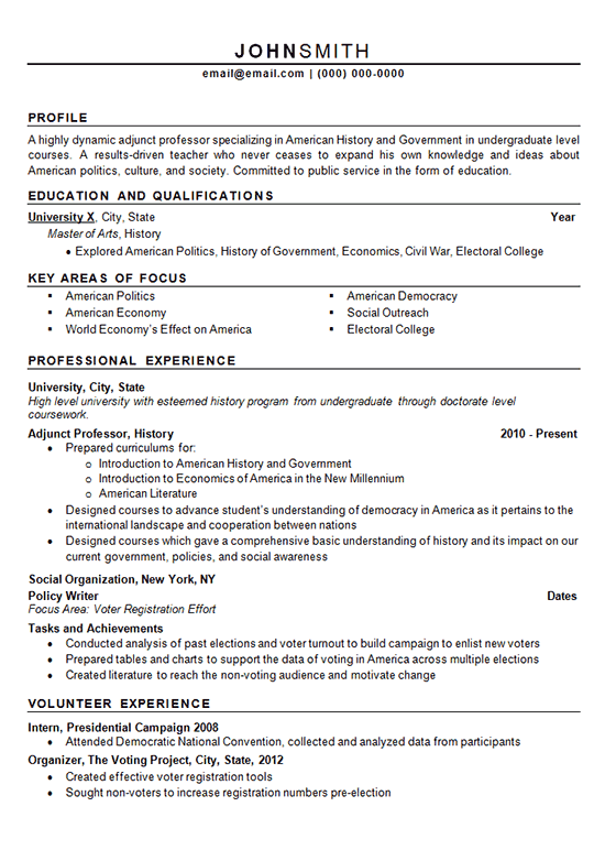 Special Finance Leads >> Adjunct Professor Resume Example - History and Politics