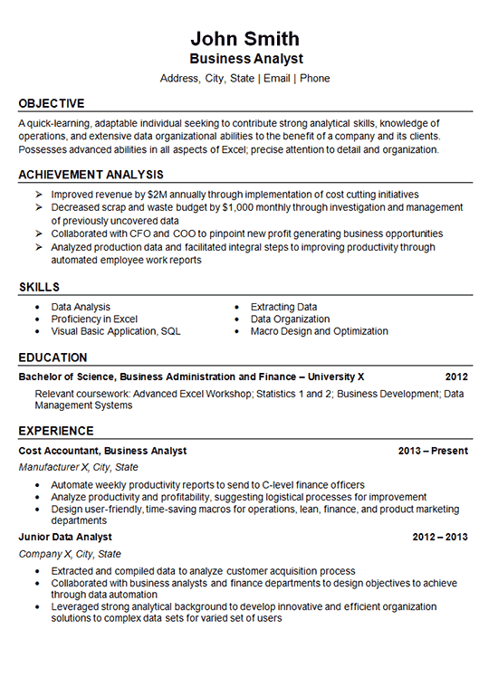 data analyst resume example business finance