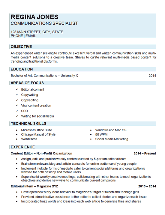 Communications Specialist Resume Examples