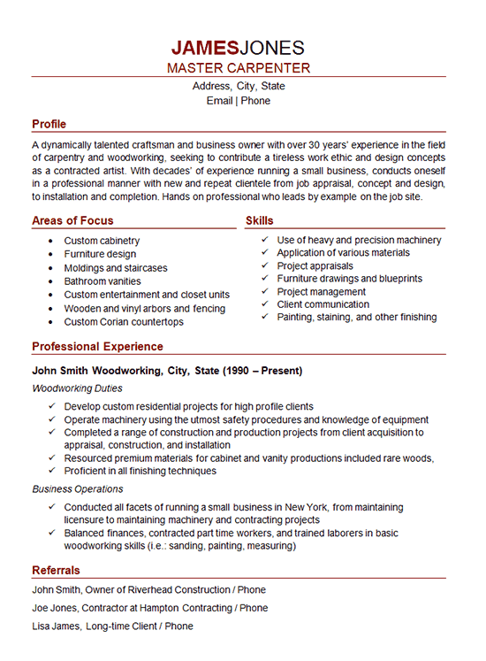 carpenter resume example