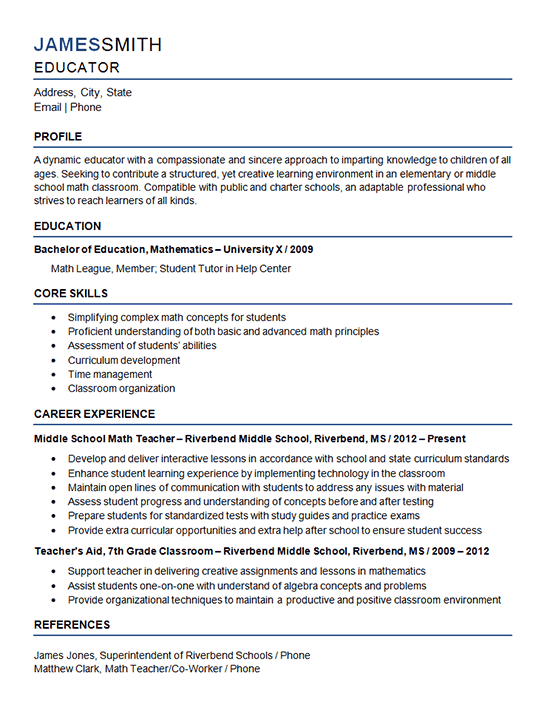 Sample Teacher Resume For Middle School