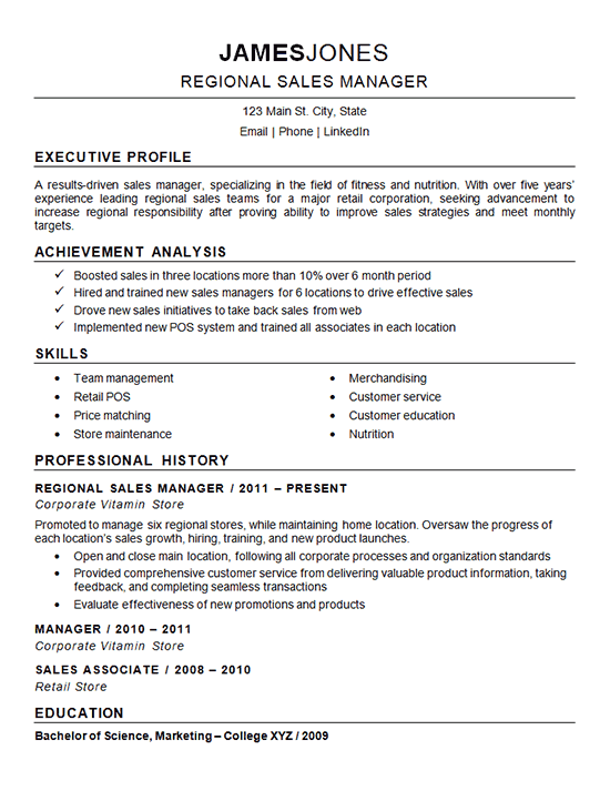 Regional Sales Manager Resume Example Nutrition Fitness