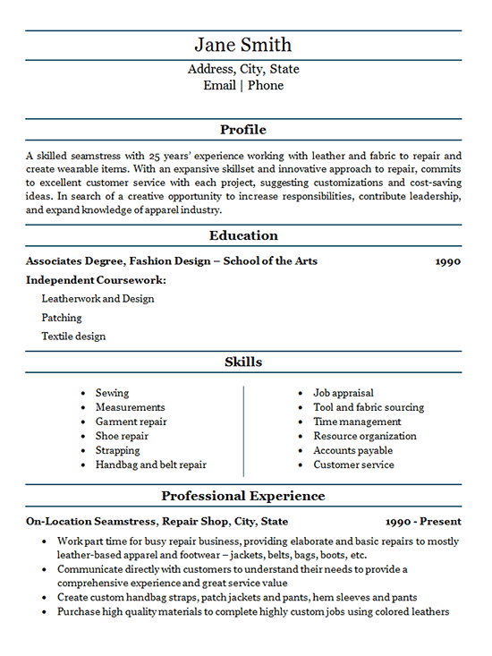 Seamstress Resume Example - Fabric Repair Service