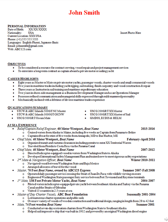 Boat Captain Resume Example