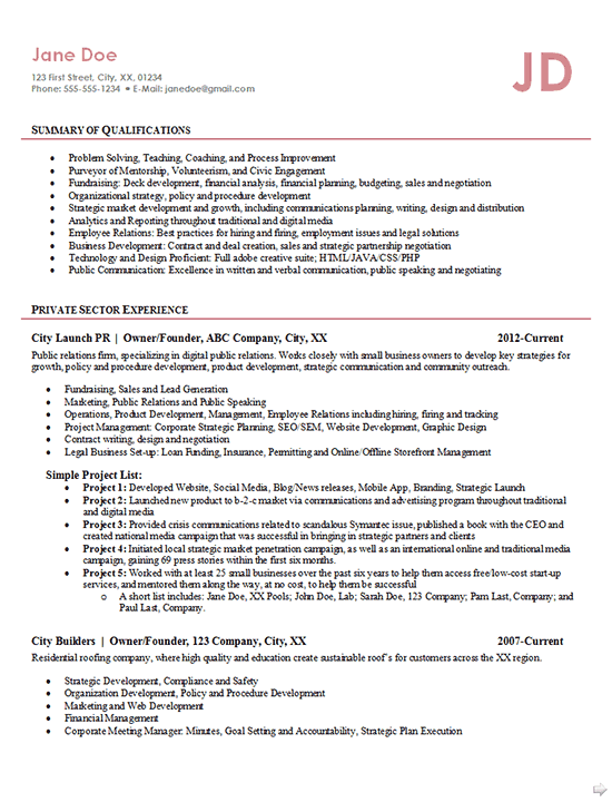 entrepreneur resume example