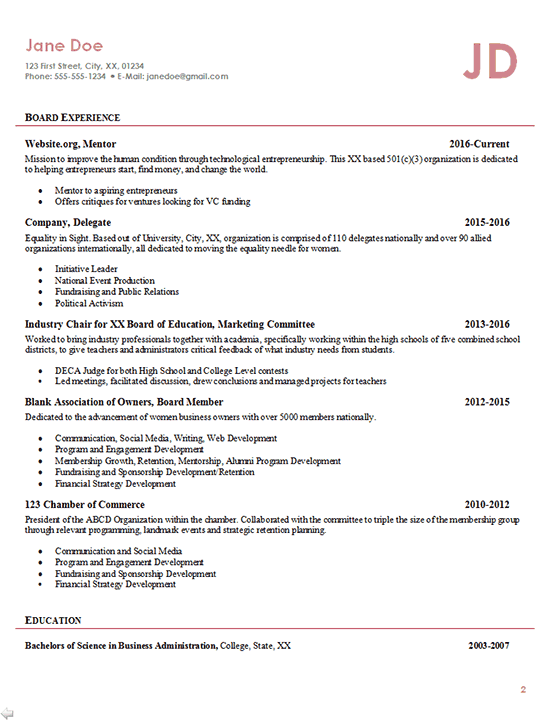professional resume business owner