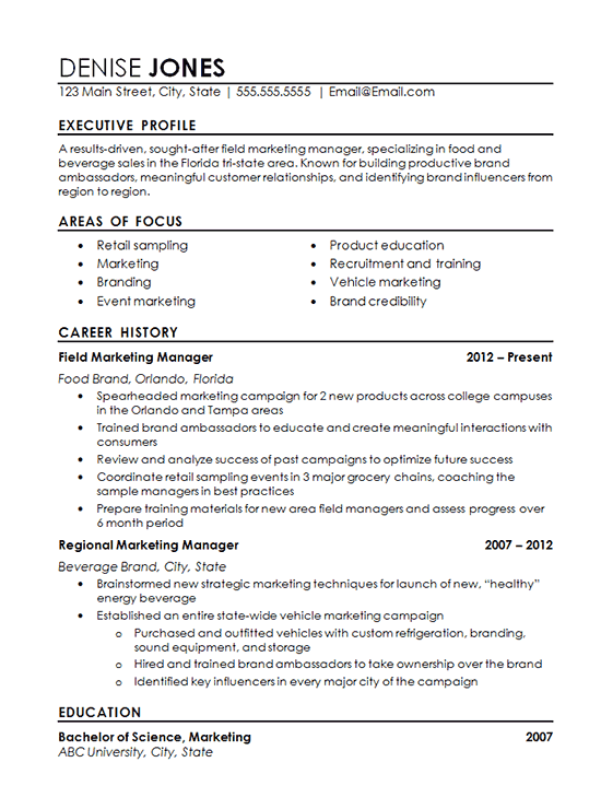 Regional Marketing Resume Example - Field Marketing, Food, Beverage