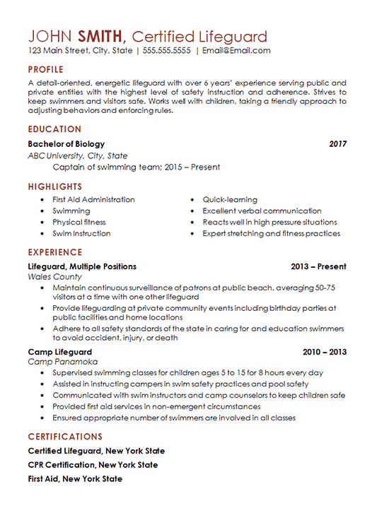 Certified Lifeguard Resume Example Freelance Professional Cpr Certification Resumes