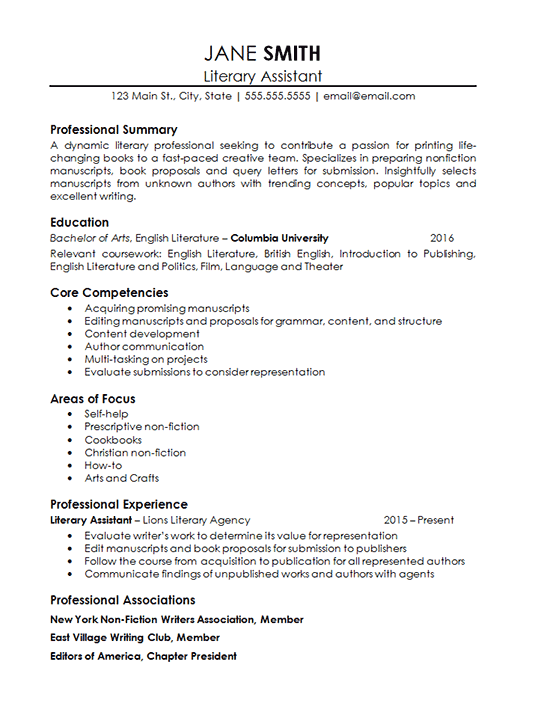 Assistant Literary Agent Resume Example