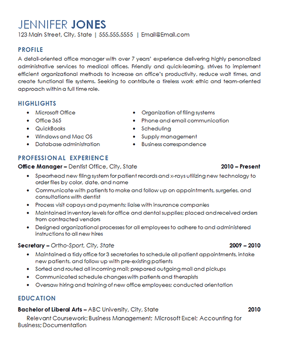 Office Management Resume Example - Medical, Dental Office