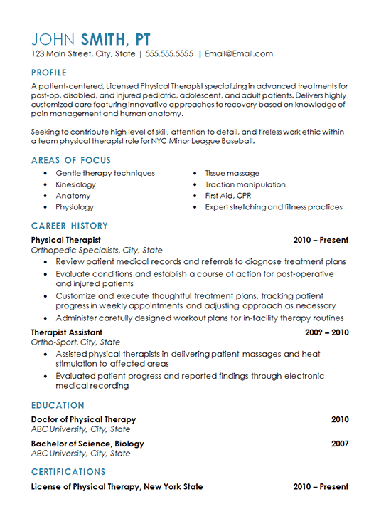 Physical Therapy Resume Example Sports