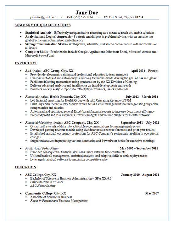 Risk Analyst Resume Example - Financial & Marketing Analysis