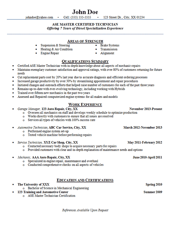 Automotive Technician Resume Examples - Auto Mechanic