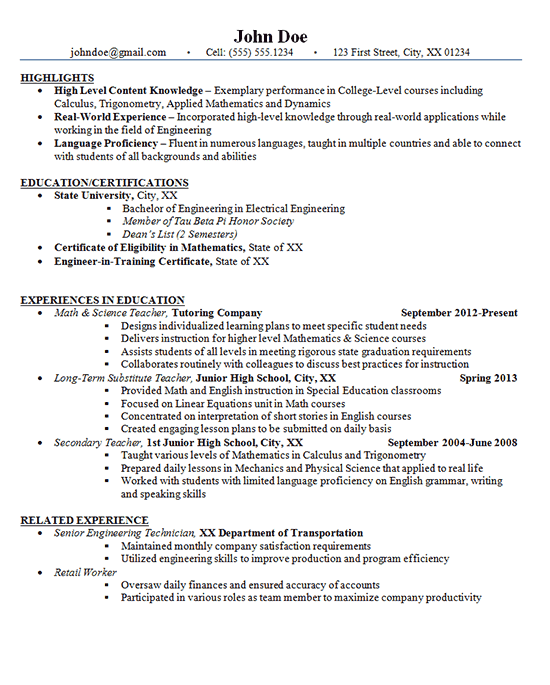 junior high school teacher resume example