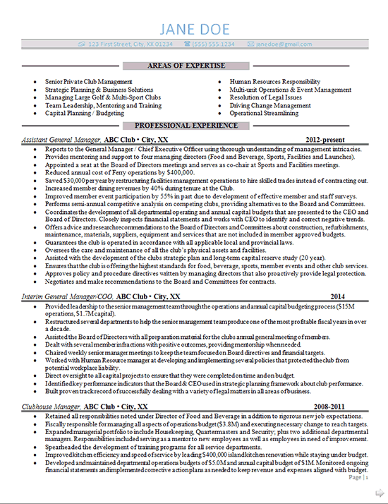 general manager resume example