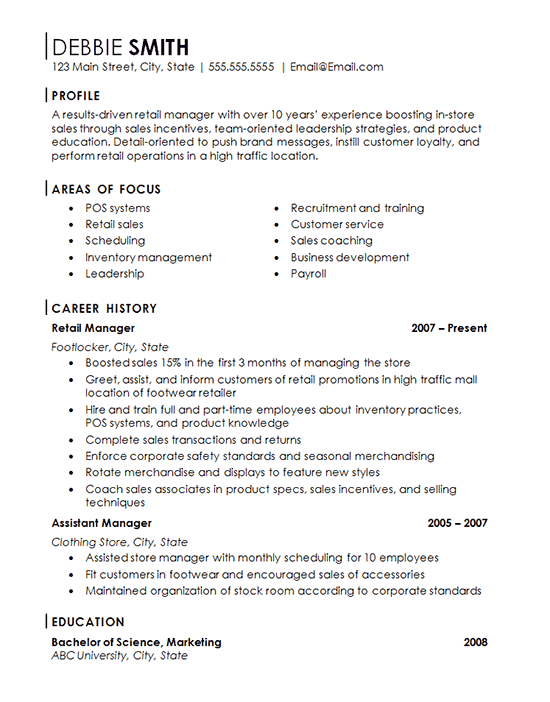 resume for customer service retail in a store