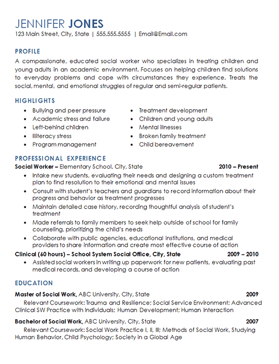 Social Worker Resume Example Elementary School Children