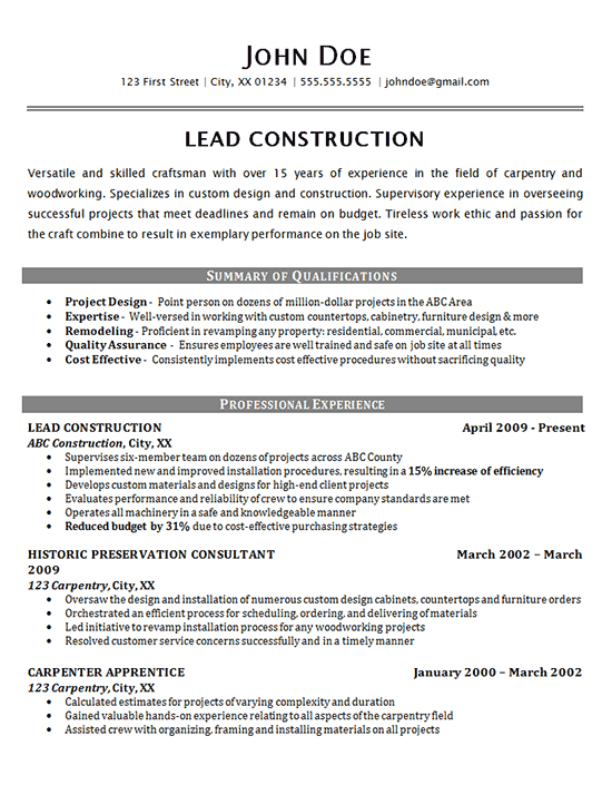 Construction Resume Examples | Construction Worker Resume Example Carpenter Supervisor