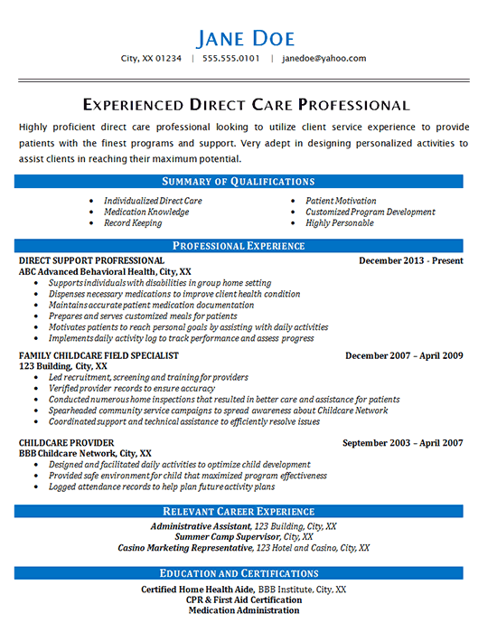Direct Care Resume Example