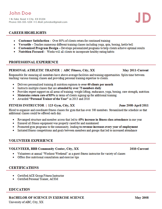 athletic trainer resume example fitness management