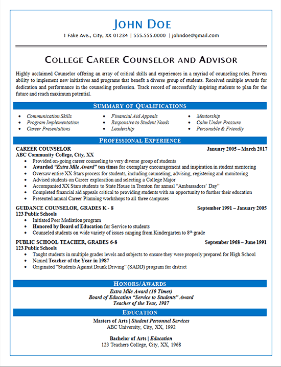 Career Counselor Resume Example Guidance And College