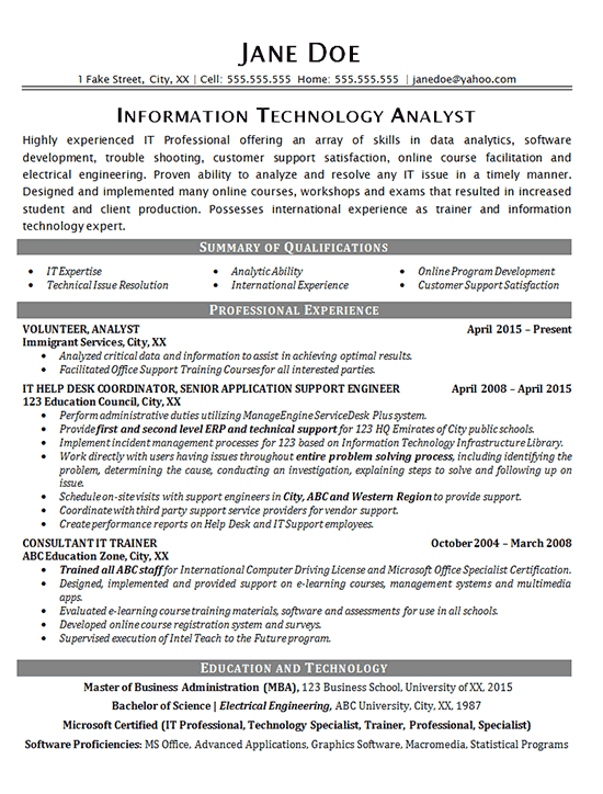 Resume Format For It Professional | It Help Desk Resume Example Technical Analyst It Support