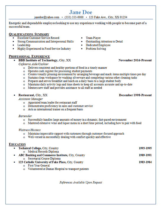 Restaurant Server Resume Example - Bartender - Hostess