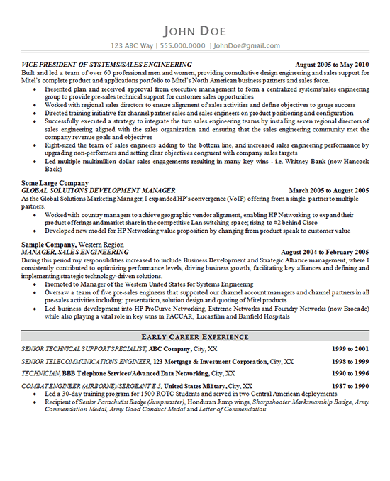 Technology IT Sales Resume Example