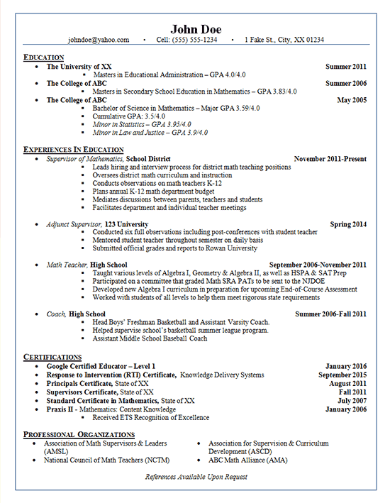 School Administrator Resume Example - Adjunct Supervisor