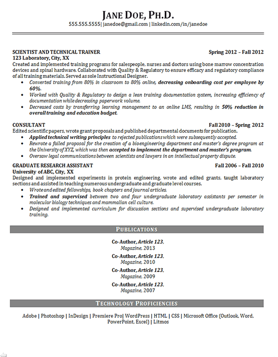 phd resume example - scientist - training